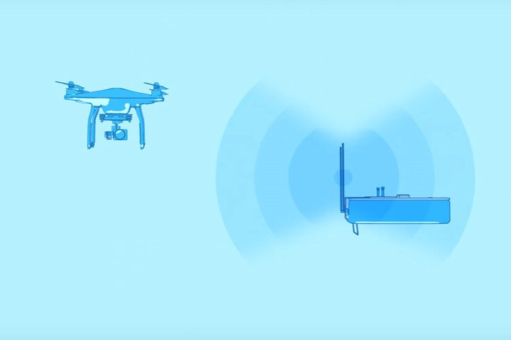 如航拍機正在低飛,建議遙控天線尖向上方擺放 (建議圖片)