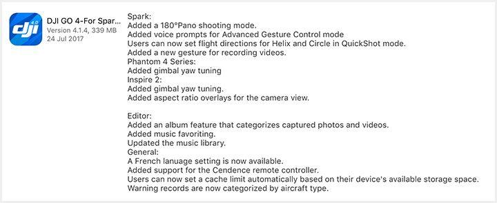 iOS DJI Go 4 App v4.1.4 版本更新內容