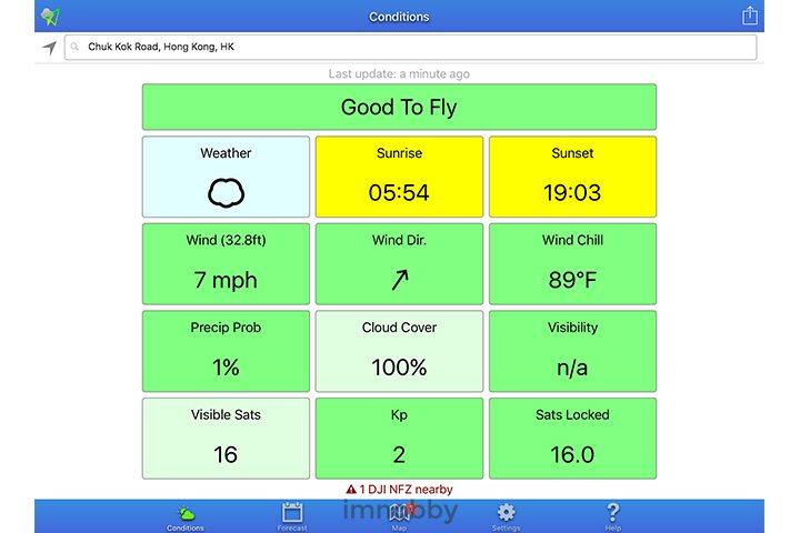 UAV Forecast 以簡單「格仔」及不同顏色表達各天氣指標,例如 Good To Fly