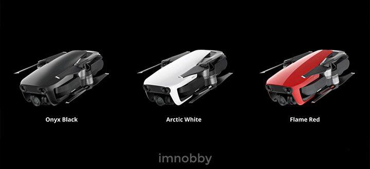Mavic Air 有三款顏色選擇,分別是雪域白 (Arctic White)、曜石黑 (Onyx Black)、烈焰紅 (Flame Red)