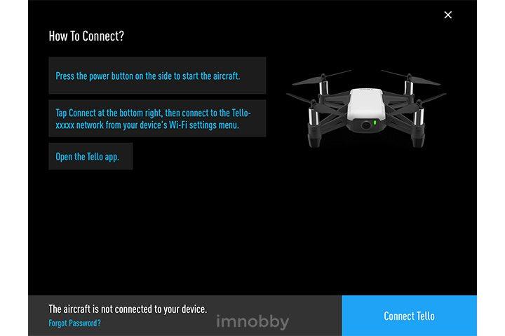 應用程式頁面:連接 Tello 無人機