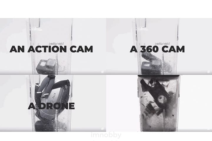 工作人員將運動相機 (Action Cam)、360 攝錄機 (360 Cam) 和航拍機一部一部放進攪拌機內混成一體。