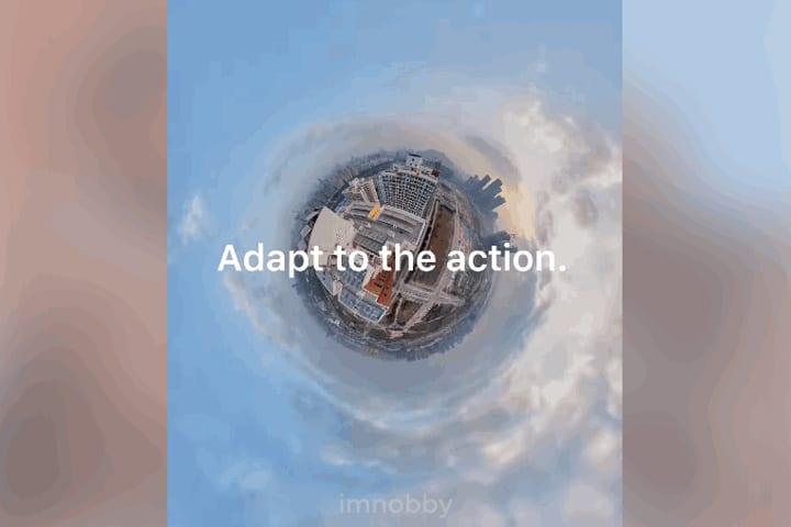 Insta360 創辦人及行政總裁劉靖康於 Insta360 Community 發佈的片段,片段中鏡頭一直升空,最後飛到空中及展示環形球體。
