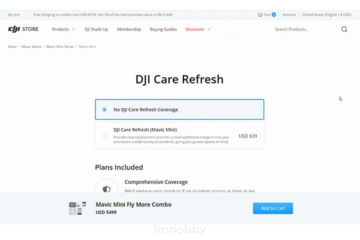 於美國購買的 DJI Mavic Mini 不能於香港使用 DJI Care Refresh 換機,所以選「No DJI Care Refresh Coverage」