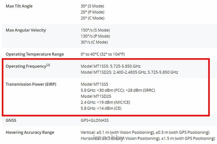 在 Mavic Mini 產品規格頁面中,MT1SS5 型號顯示只支援 5 GHz 頻段通訊
