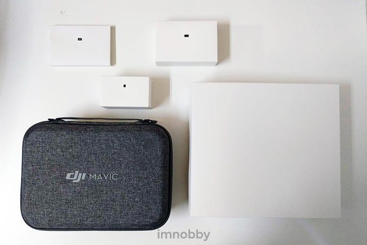 Mavic Mini 包裝盒內有 4 個小盒,一個收納包